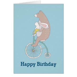 Whimsical Bunny and Bear Happy Birthday Card