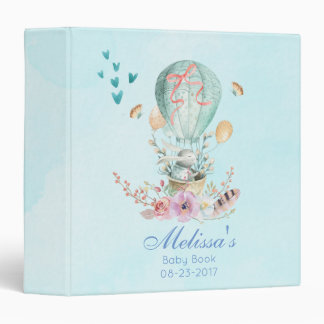 Whimsical Bunny Riding in a Balloon Baby Book 3 Ring Binder