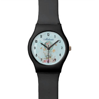 Whimsical Bunny Riding in a Balloon Personalized Wrist Watches