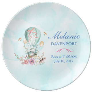 Whimsical Bunny Riding in a Hot Air Balloon Baby Plate