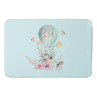 Whimsical Bunny Riding in a Hot Air Balloon Bath Mat