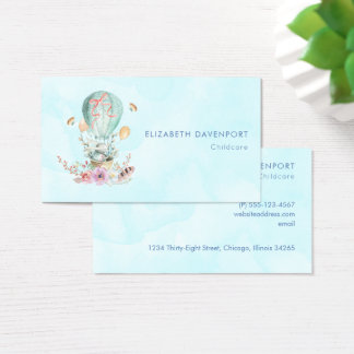 Whimsical Bunny Riding in a Hot Air Balloon Business Card