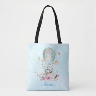 Whimsical Bunny Riding in a Hot Air Balloon Custom Tote Bag