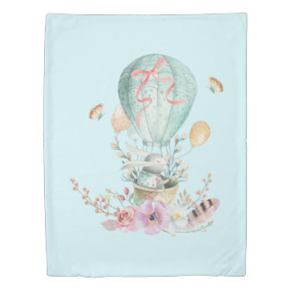 Whimsical Bunny Riding in a Hot Air Balloon Duvet Cover