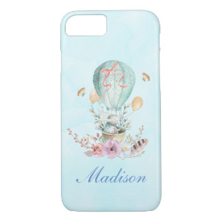 Whimsical Bunny Riding in a Hot Air Balloon iPhone 8/7 Case