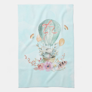 Whimsical Bunny Riding in a Hot Air Balloon Kitchen Towel