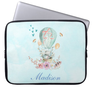 Whimsical Bunny Riding in a Hot Air Balloon Laptop Sleeve