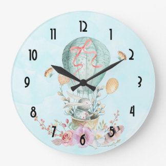 Whimsical Bunny Riding in a Hot Air Balloon Large Clock