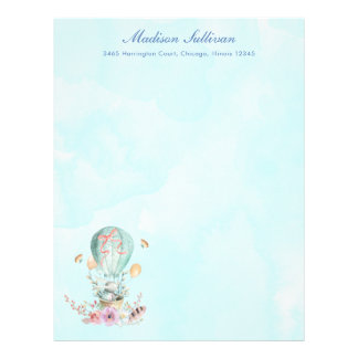 Whimsical Bunny Riding in a Hot Air Balloon Letterhead