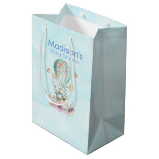 Whimsical Bunny Riding in a Hot Air Balloon Medium Gift Bag