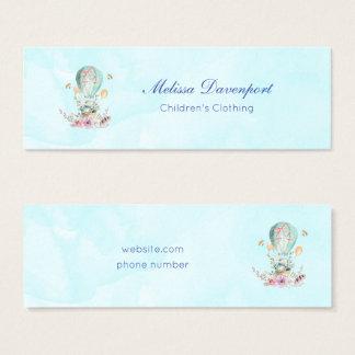 Whimsical Bunny Riding in a Hot Air Balloon Mini Business Card