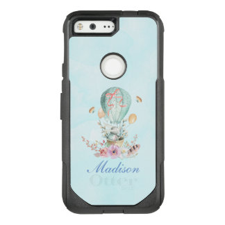 Whimsical Bunny Riding in a Hot Air Balloon OtterBox Commuter Google Pixel Case