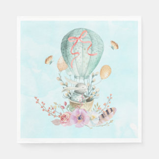 Whimsical Bunny Riding in a Hot Air Balloon Paper Napkins