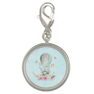 Whimsical Bunny Riding in a Hot Air Balloon Photo Charms