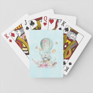 Whimsical Bunny Riding in a Hot Air Balloon Playing Cards