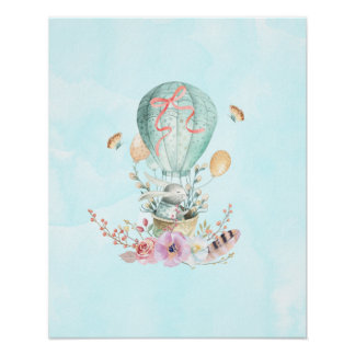 Whimsical Bunny Riding in a Hot Air Balloon Poster