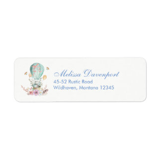 Whimsical Bunny Riding in a Hot-Air Balloon Return Address Label