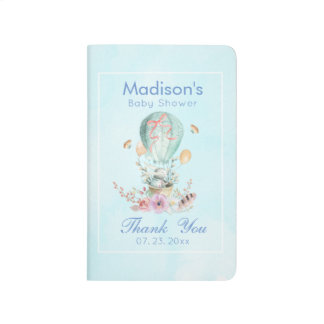 Whimsical Bunny Riding in a Hot Air Balloon Shower Journal
