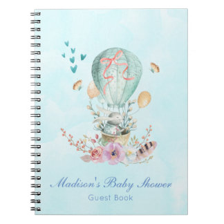 Whimsical Bunny Riding in a Hot Air Balloon Spiral Notebook