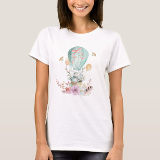 Whimsical Bunny Riding in a Hot Air Balloon T-Shirt