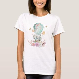 Whimsical Bunny Riding in a Hot Air Balloon T-Shirt
