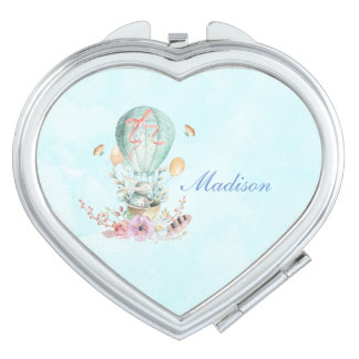 Whimsical Bunny Riding in a Hot Air Balloon Travel Mirror