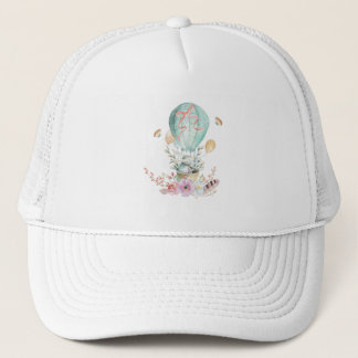 Whimsical Bunny Riding in a Hot Air Balloon Trucker Hat