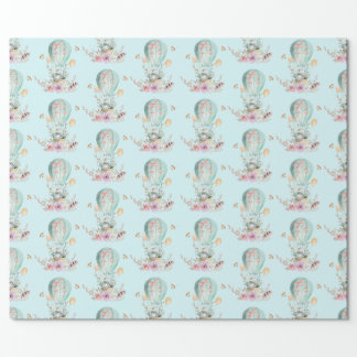 Whimsical Bunny Riding in a Hot Air Balloon Wrapping Paper