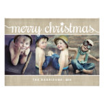 Whimsical Burlap Rustic Merry Christmas Photo Invitations