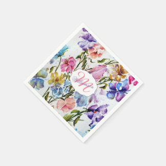WHIMSICAL BUTTERFLIES AND FLOWERS PAPER NAPKIN