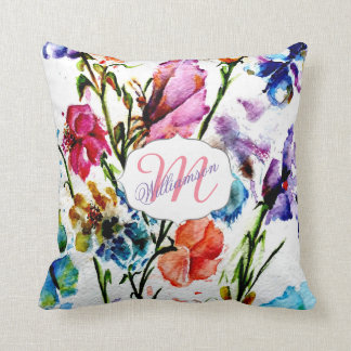 WHIMSICAL BUTTERFLIES AND FLOWERS THROW PILLOW