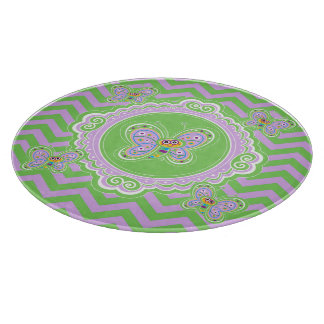 Whimsical Butterflies and Zigzags Cutting Board