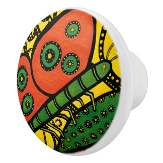 Whimsical Butterfly  Bright Colors Ceramic Knob