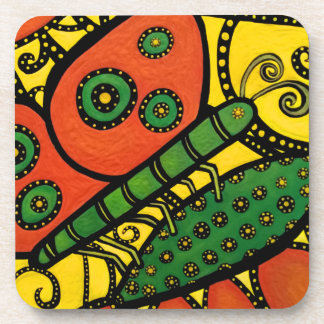 Whimsical Butterfly Yellow Orange Green Coaster