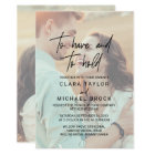 Whimsical Calligraphy | Faded Photo Hold Wedding Card