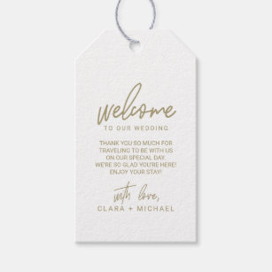 37d37fb1e Whimsical Calligraphy Gold Wedding Welcome Gift Tags