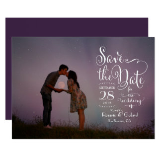 Whimsical Calligraphy Script Photo Save the Date Card