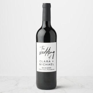 Whimsical Calligraphy Wedding Wine Label