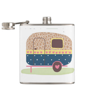 Whimsical Camp Trailer Hip Flask