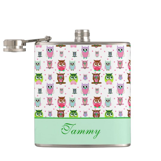 Whimsical Cartoon Owls Drinking Flask