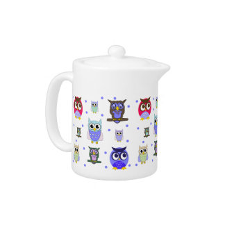 Whimsical Cartoon Owls Tea Pot