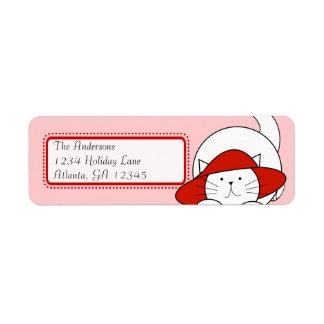 Whimsical Cat In a Red Hat Return Address