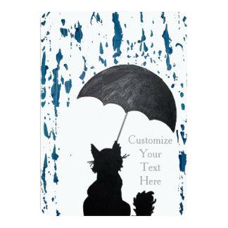 Whimsical Cat In the Rain Card