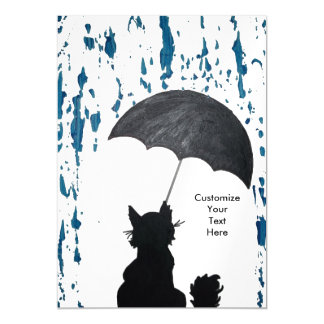 Whimsical Cat In the Rain Magnetic Invitations