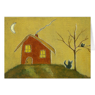 Whimsical Cat Owl House Primitive Art Painting Card