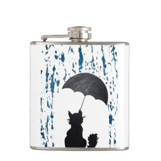 Whimsical Cat under Umbrella Hip Flask