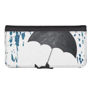 Whimsical Cat under Umbrella iPhone SE/5/5s Wallet Case