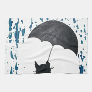 Whimsical Cat under Umbrella Kitchen Towel