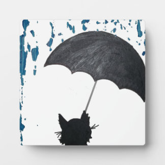 Whimsical Cat under Umbrella Plaque