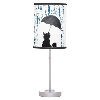 Whimsical Cat under Umbrella Table Lamp
